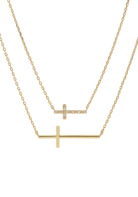 Inspire You Me Duo Cross Pendant Necklace Set