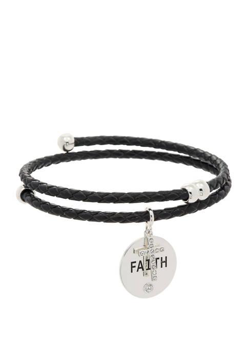 Belk Boxed Cubic Zirconia Crystals Faith Leather Bracelet