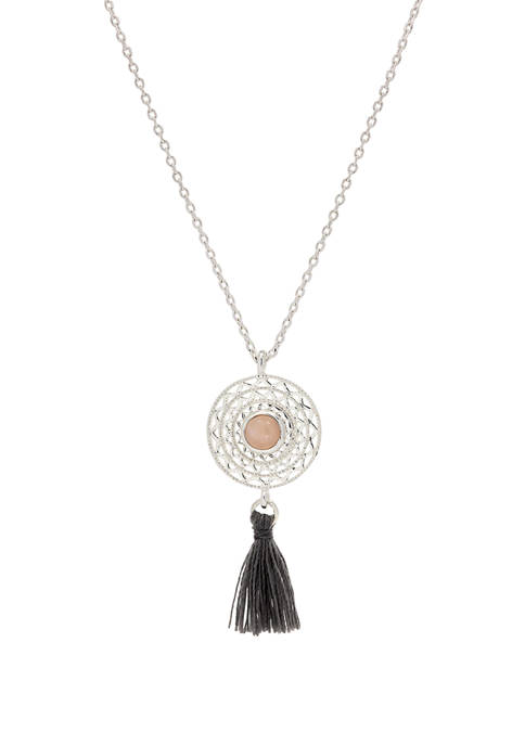 Boxed Silver Tone Crystal Round Stone Dream Catcher Pendant Necklace