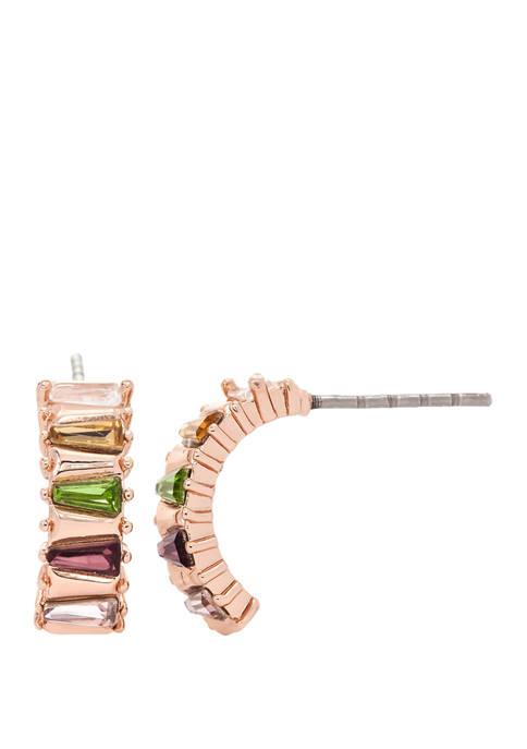 Lab Created Cubic Zirconium Crystal Baguette Half Hoop Earrings