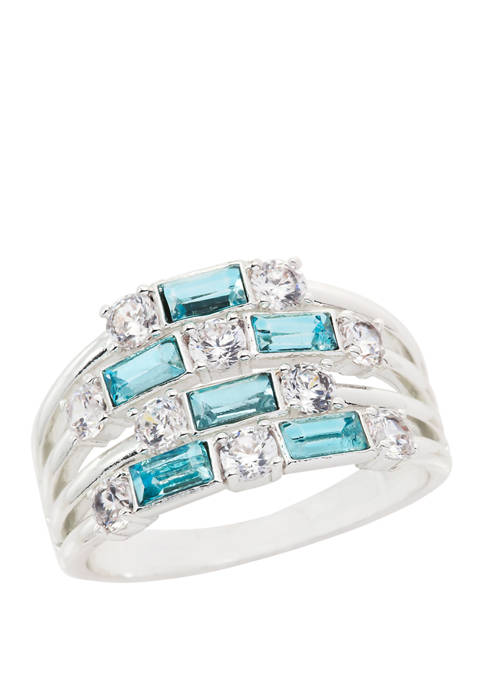 Lab Created Cubic Zirconium Crystal Baguette Station Ring