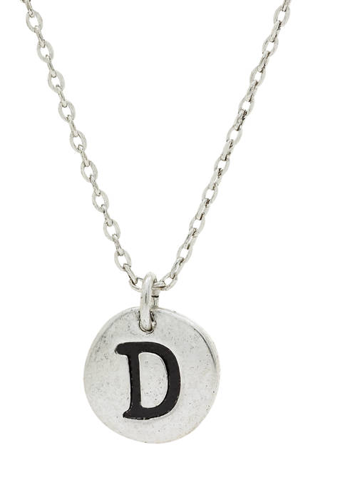 Silver Tone Initial D Disc Necklace
