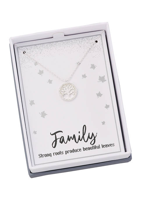 New Directions® Boxed Silver Tone Tree of Life