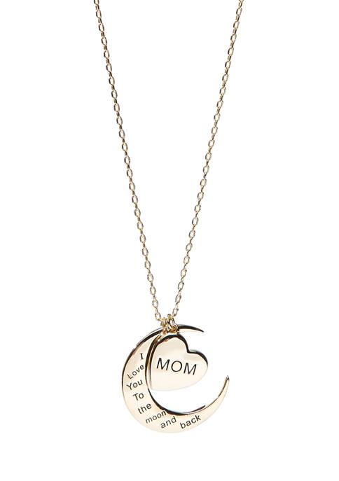 New Directions® Gold Tone Heart and Moon Pendant