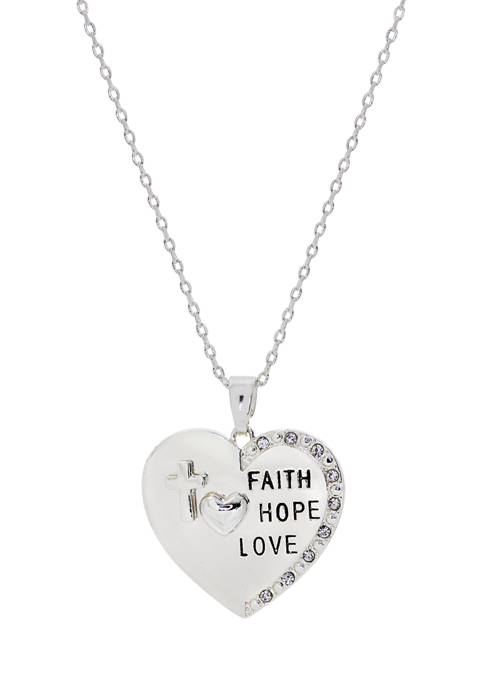 New Directions® Boxed Crystal Faith Love Hope Silver-Tone