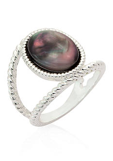 New Directions® Silver-Tone Twist Black Opal Boxed Ring