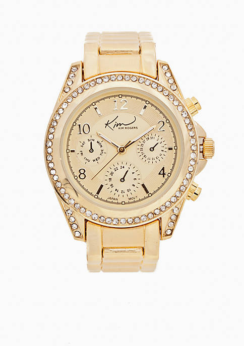 Kim Rogers® Womens Gold Watch with Cubic Zirconia