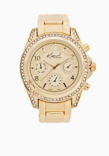 Women's Gold Watch with Cubic Zirconia Bezel Case