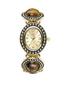 Gold Stretch Brown Stone Watch