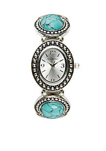 Silver-Tone Stretch Turquoise Stone Watch