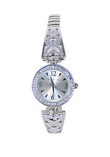 Silver-Tone Half Bangle Watch