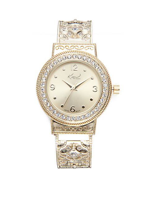 Kim Rogers® Womens Round Gold-Tone Filigree Cuff Watch
