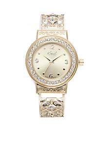 Women's Round Gold-Tone Filigree Cuff Watch