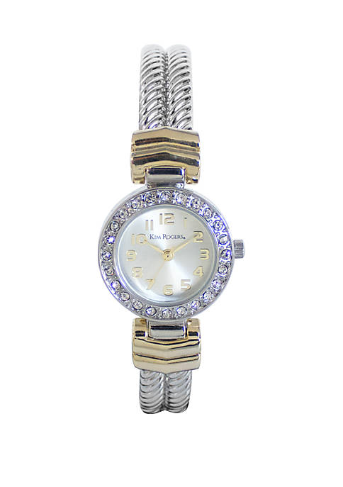 2 Tone Rope Bangle Watch with Crystal Encrusted Bezel