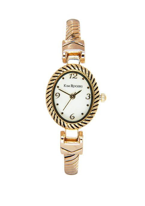 Kim Rogers® Womens Gold Mother of Pearl Dial