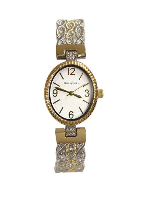 Two Tone Textured Bangle Watch