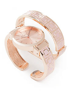 Kim Rogers® Women's Round Rose Gold-Tone & Pink Bangle Watch Set