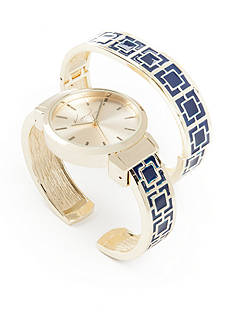 Kim Rogers® Women's Round Gold-Tone & Navy Bangle Watch Set