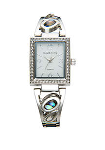Silver-Tone Abalone Stone Bracelet Watch