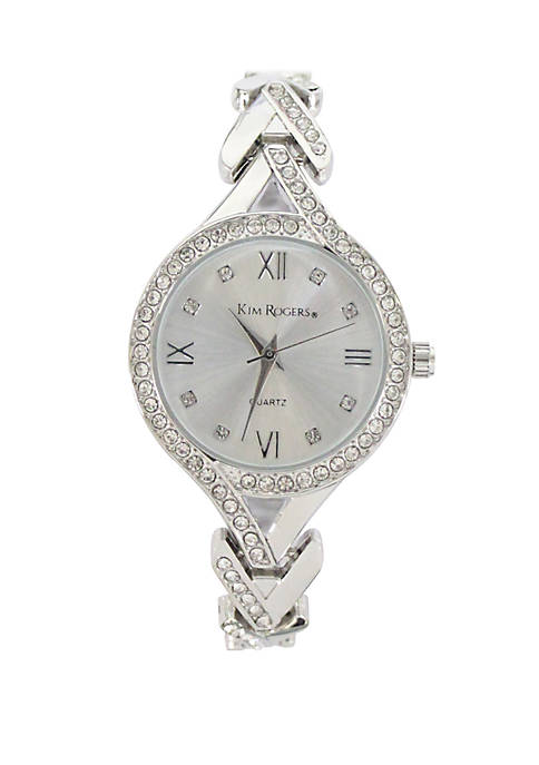 Womens Heart Link Bracelet Watch with Glitz