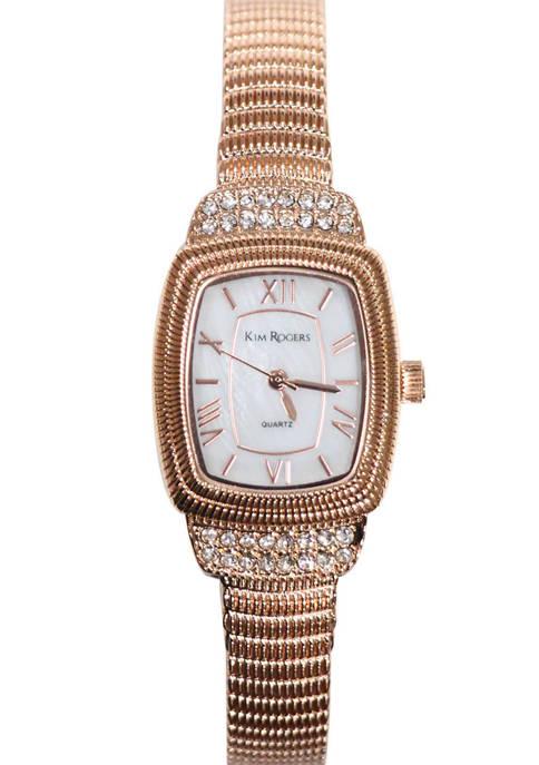 Womens Rose Gold Tone Rope Bangle Watch