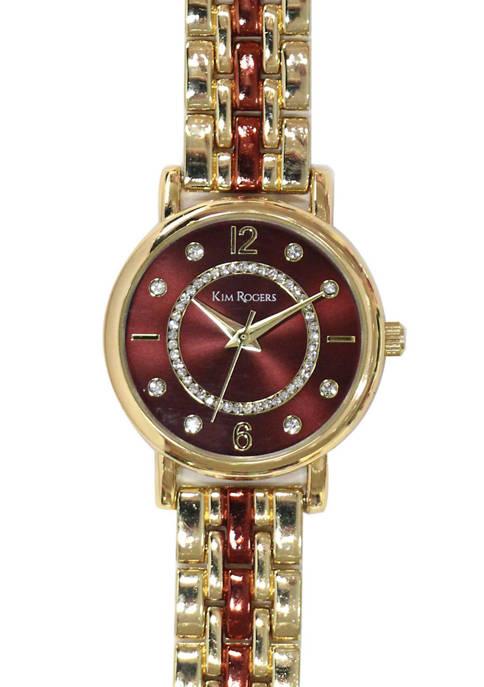 Kim Rogers® Womens Brown Gold Bracelet Watch