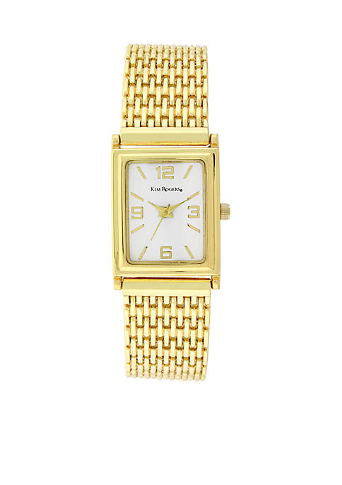 Kim Rogers® Women's Gold Square Case Link Watch