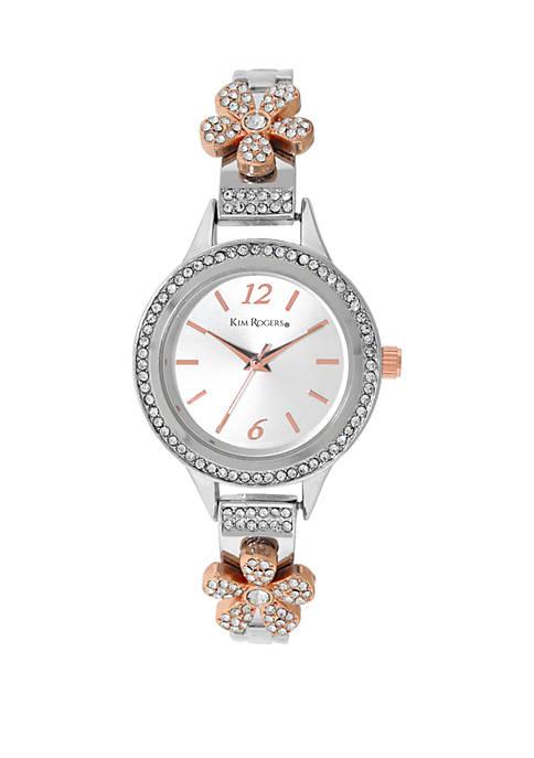 Womens Flower Accent Bracelet Watch