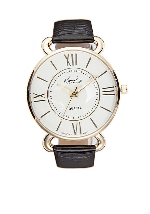 Kim Rogers® Womens Shiny Crocco Leather Strap Watch