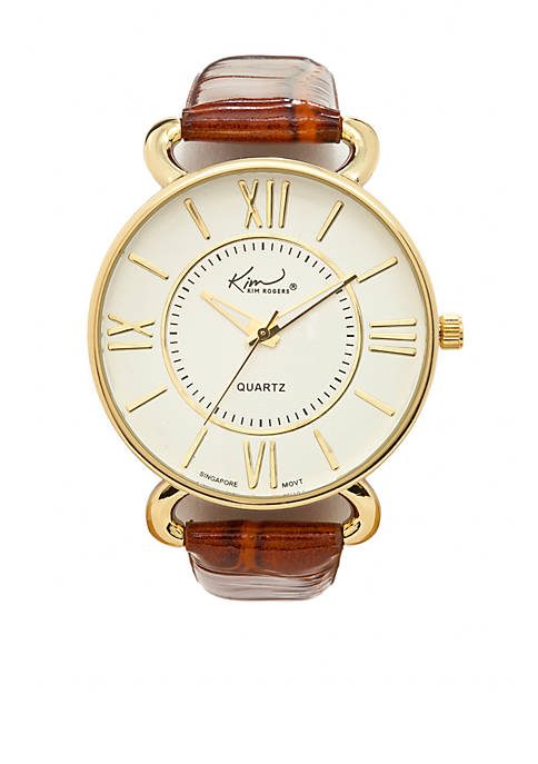 Kim Rogers® Camel Crocco Leather Strap Watch