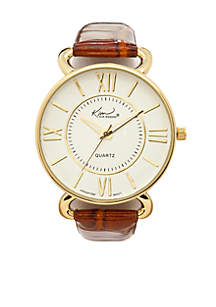 Camel Crocco Leather Strap Watch