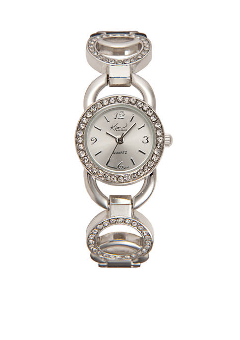 Kim Rogers® Womens Circular Glitz Silver-Tone Watch