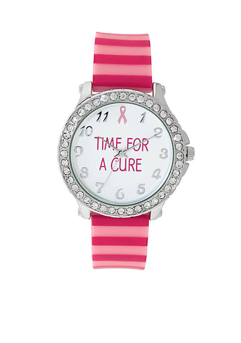 Kim Rogers® Womens Pink Striped Silicone Watch