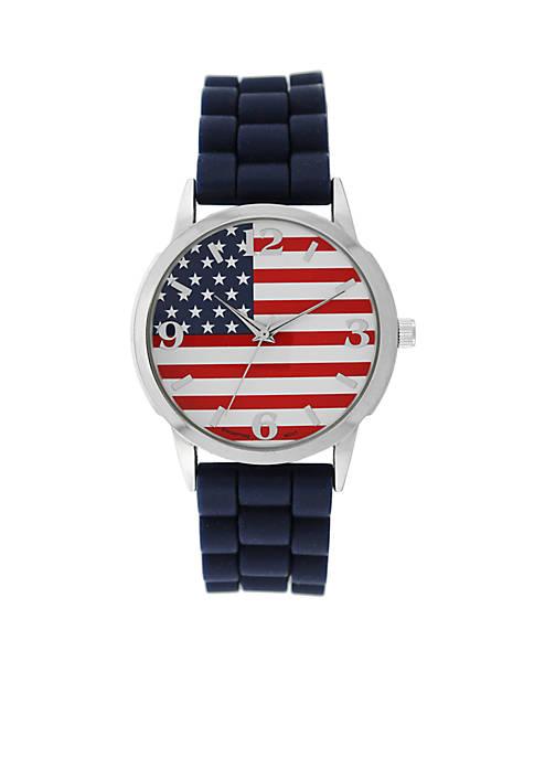 American - Flag Dial Blue Strap