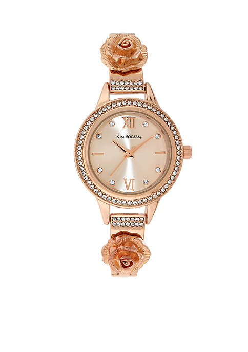 Kim Rogers® Womens Rose Gold-Tone Glitz Flower Watch