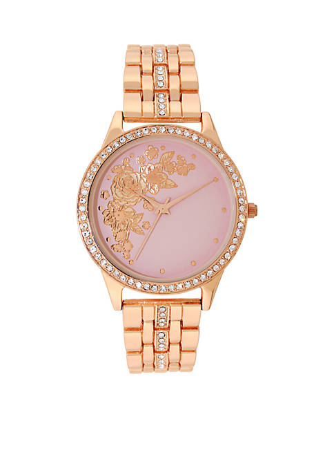 Kim Rogers® Womens Rose Gold-Tone Glitz Flower Dial