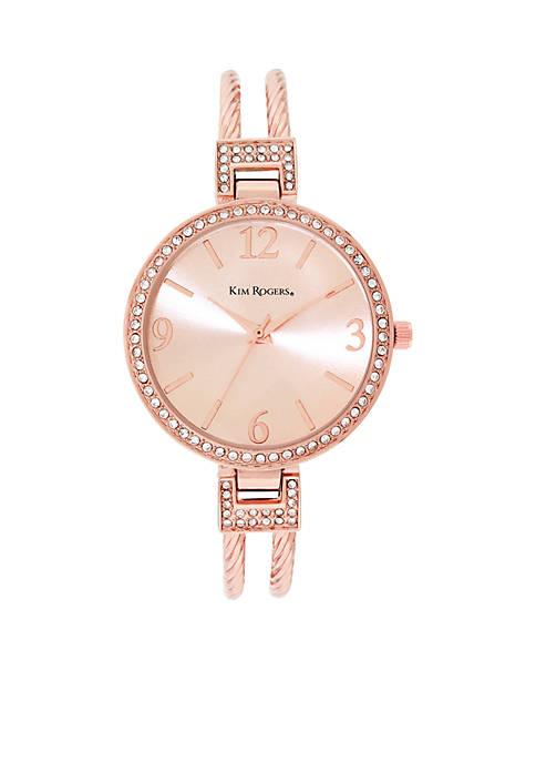 Kim Rogers® Braided Rose Gold Cuff Watch