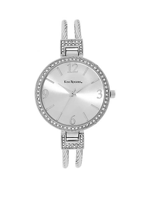 Kim Rogers® Braided Cuff Silver Watch