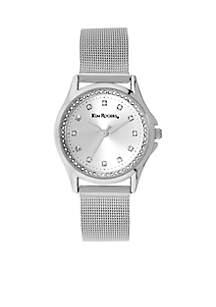 Mesh Silver-Tone Round Glitz Watch