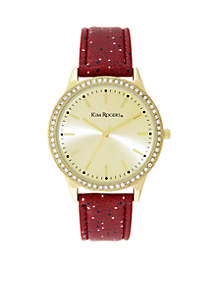 Red and Starry Strap Gold Glitz Face Watch