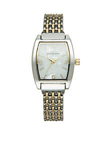 Two-Tone Bracelet Watch with Square Case