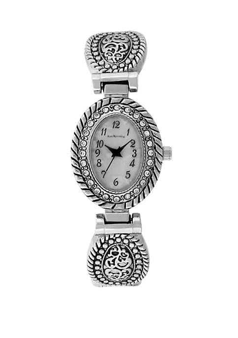 Silver Antique Cuff with Clear Crystals and Mother-Of-Pearl Dial Watch