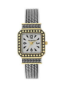 2-Tone Antique Cuff with Square Case and Mother-Of-Pearl Dial Watch