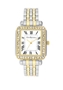 2-Tone Cuff with Square Dial Crystal Bezel Watch