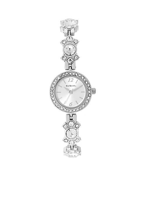 Silver-Tone Clear Crystal Watch