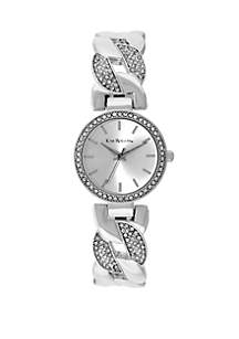 Silver-Tone Braided Bangle Watch