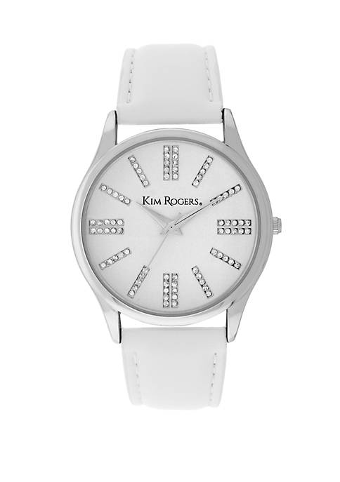 Silver Tone Leather Strap Watch