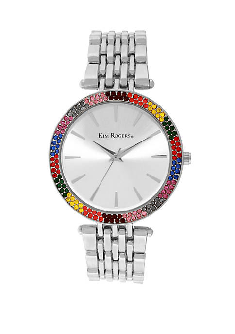 Silver Tone Rainbow Glitz Watch
