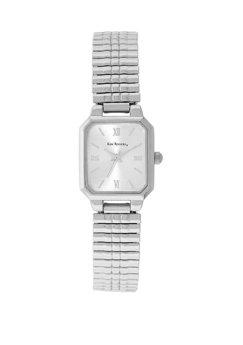 Kim Rogers® Womens Silver Expansion Square Case Watch
