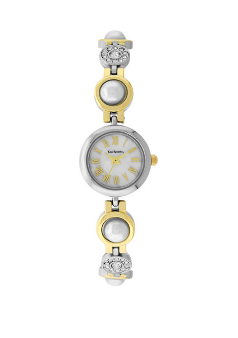 Womens 2 Tone Pearl Bracelet Mini Case Mother of Pearl Dial Watch